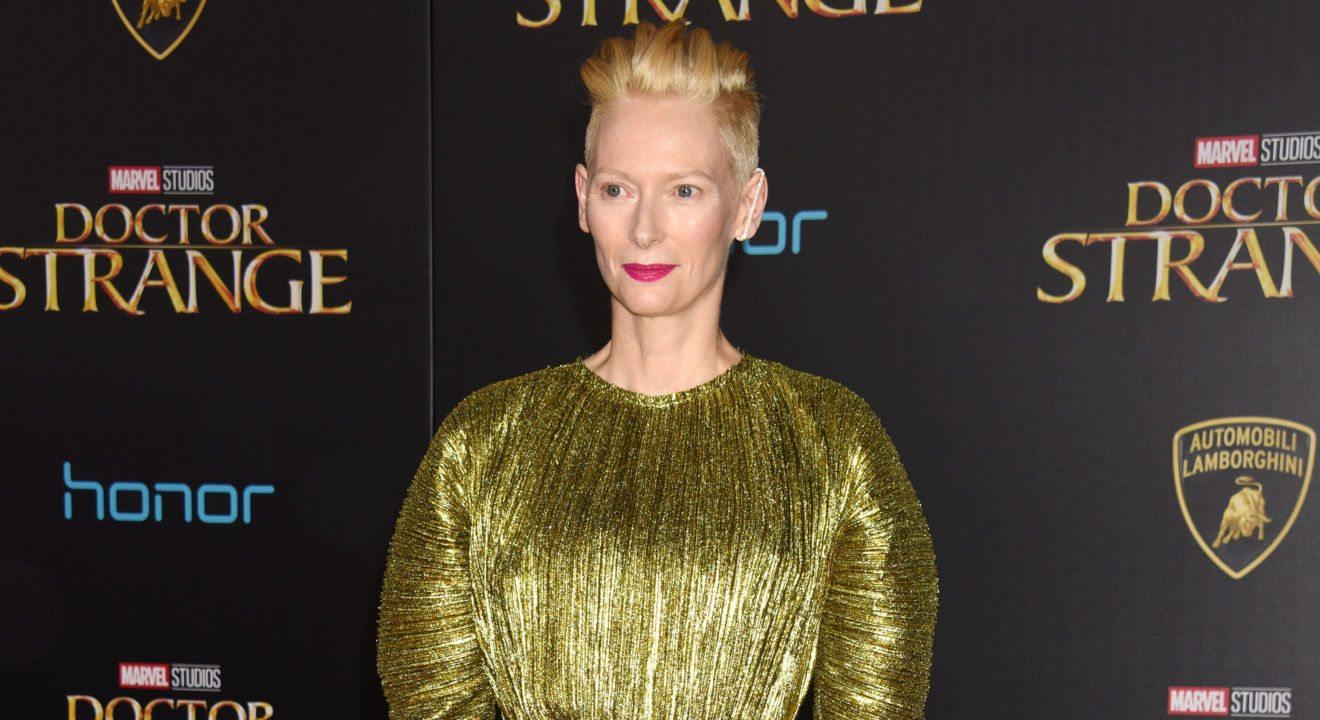 "ENTITY shares Tilda Swinton at the ""Doctor Strange"" premier."