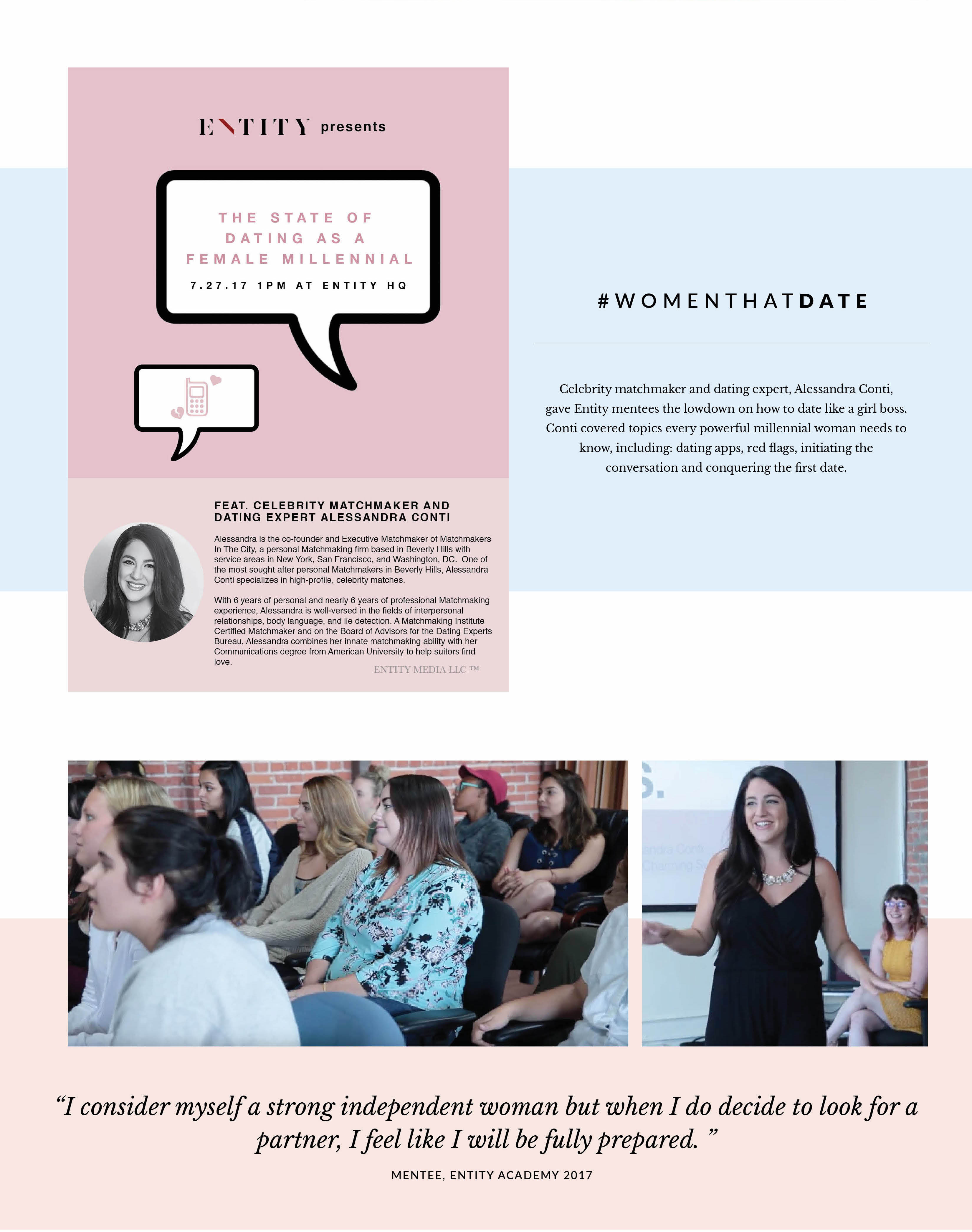 ENTITY brought matchmaker Alessandra Conti to speak about the state of millennial dating.
