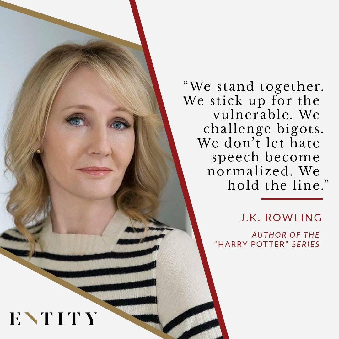 ENTITY reports on jk rowling quotes about Trump.