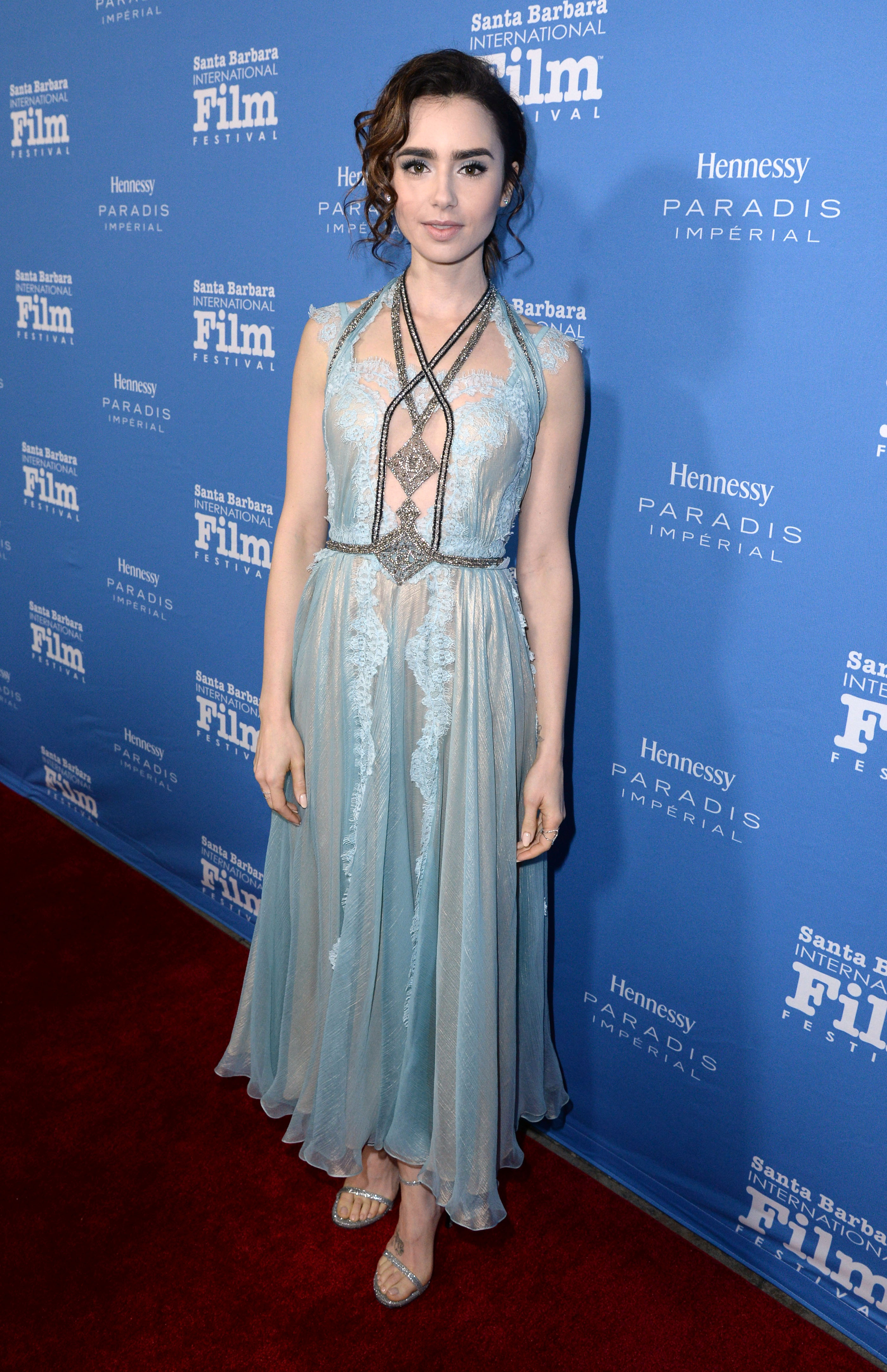 Lily Collins at the Santa Barbara Film Festival. Photo by Stewart Cook/Variety/REX/Shutterstock