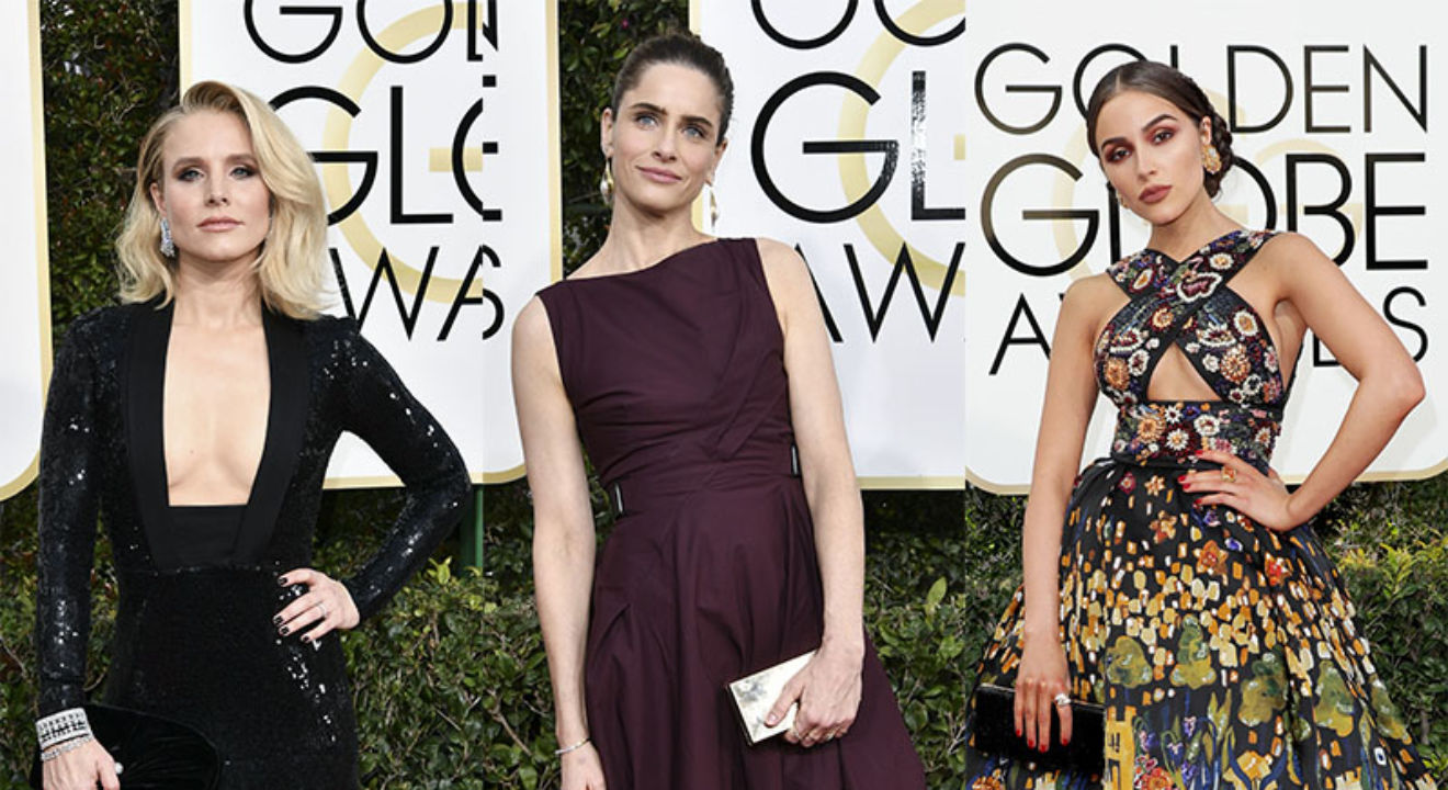 Entity reports on women's fashion at The Golden Globes.