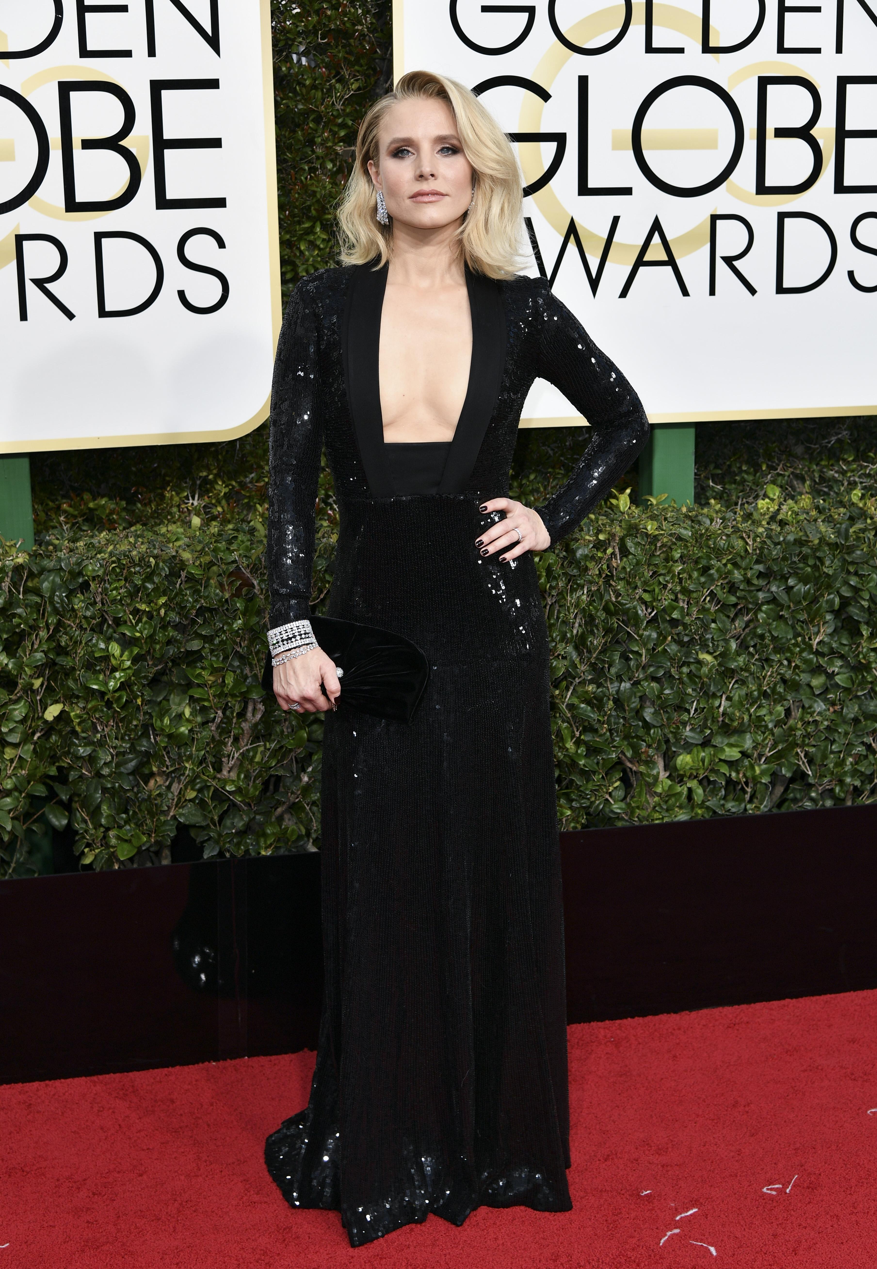 Kristen Bell, Golden Globes. Mandatory Credit: Photo by Rob Latour/REX/Shutterstock