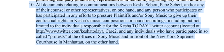 In legal docs, obtained by ENTITY, Dr. Luke wants Kesha's team to hand over all communications with protesters and supporters.