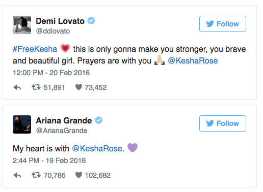 Demi Lovato and Ariana Grande tweet their support for Kesha.