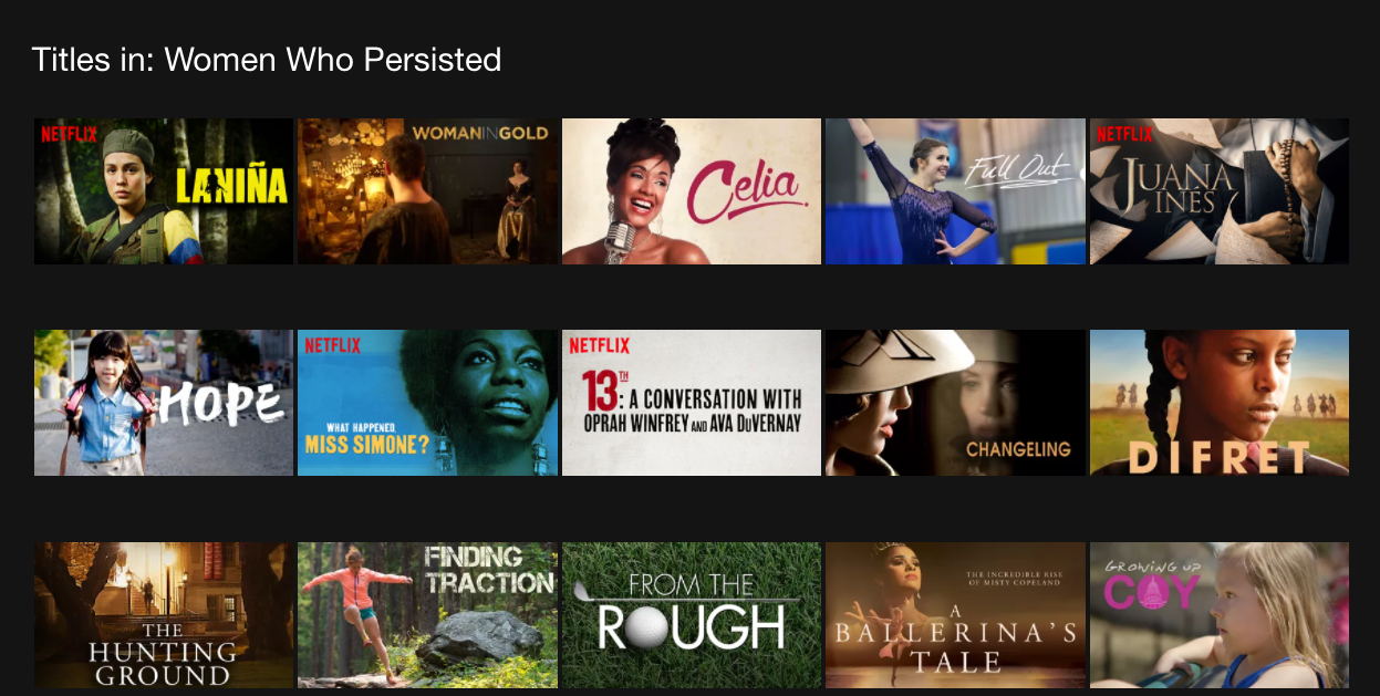 """Netflix has a new hidden category, """"Women Who Persisted"""""""
