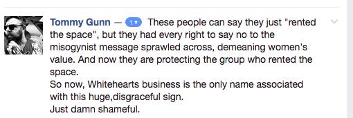 Facebook comment, sexist billboard north carolina
