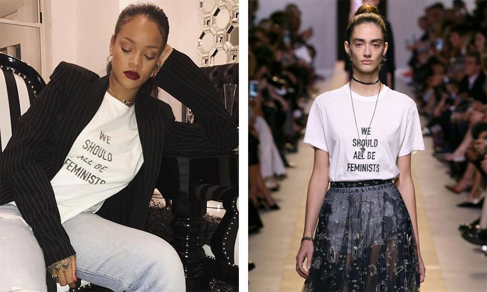 Rihanna wears Dior feminist t shirt
