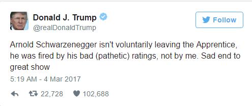 Donald Trump tweets about Celebrity Apprentice
