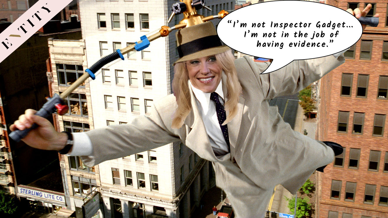 Entity shares a Kellyanne Conway Inspector Gadget meme that comes from the White House counselor's wacky comment about microwaves turning into cameras. #MicrowaveGate