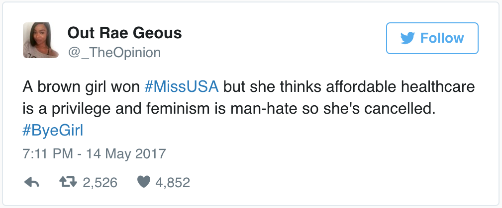 Miss USA slams feminism as man-hating and Twitter was not happy, Entity reports.