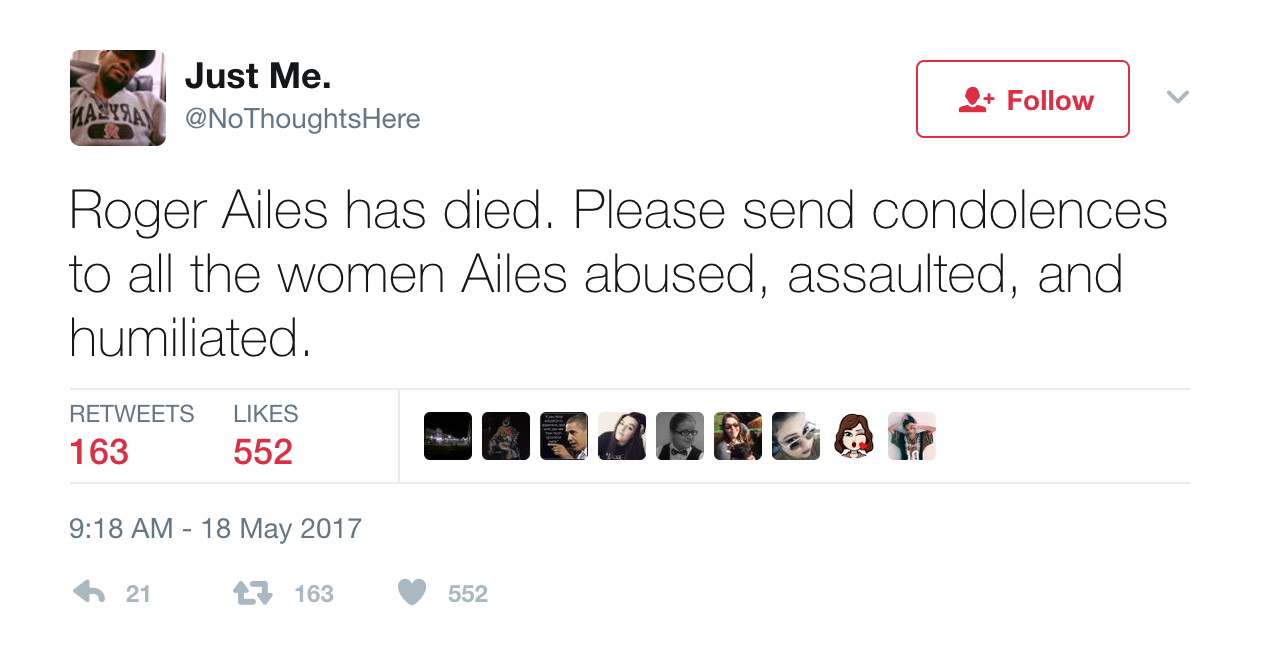 Twitter reacts to Roger Ailes's death and offered condolences... to someone else, Entity reports.