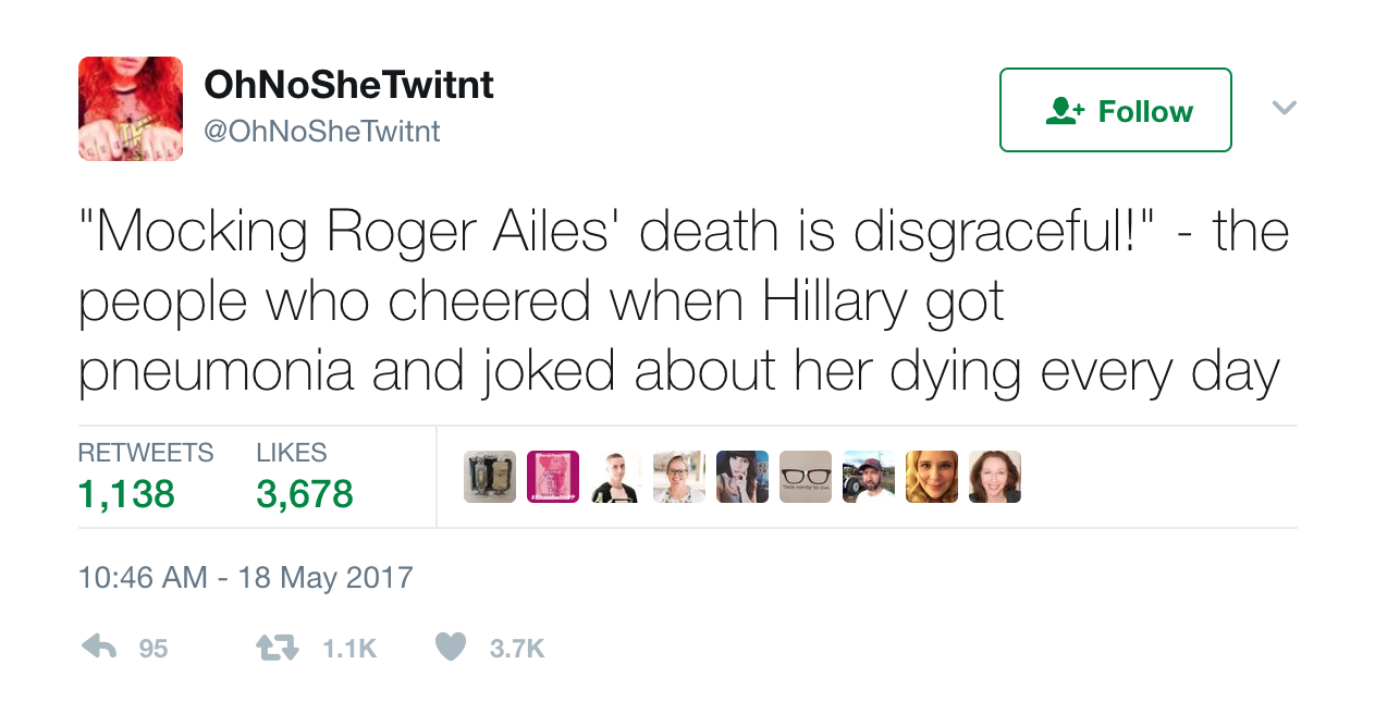 Twitter reacts to Roger Ailes's death, calling some supporters hypocrites, Entity reports.