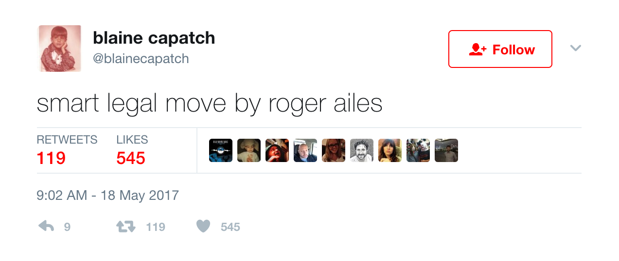 Twitter reacts to roger ailes's death, and they're not that upset, Entity reports.